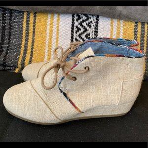 Toms wedge linen serape heels/shoes